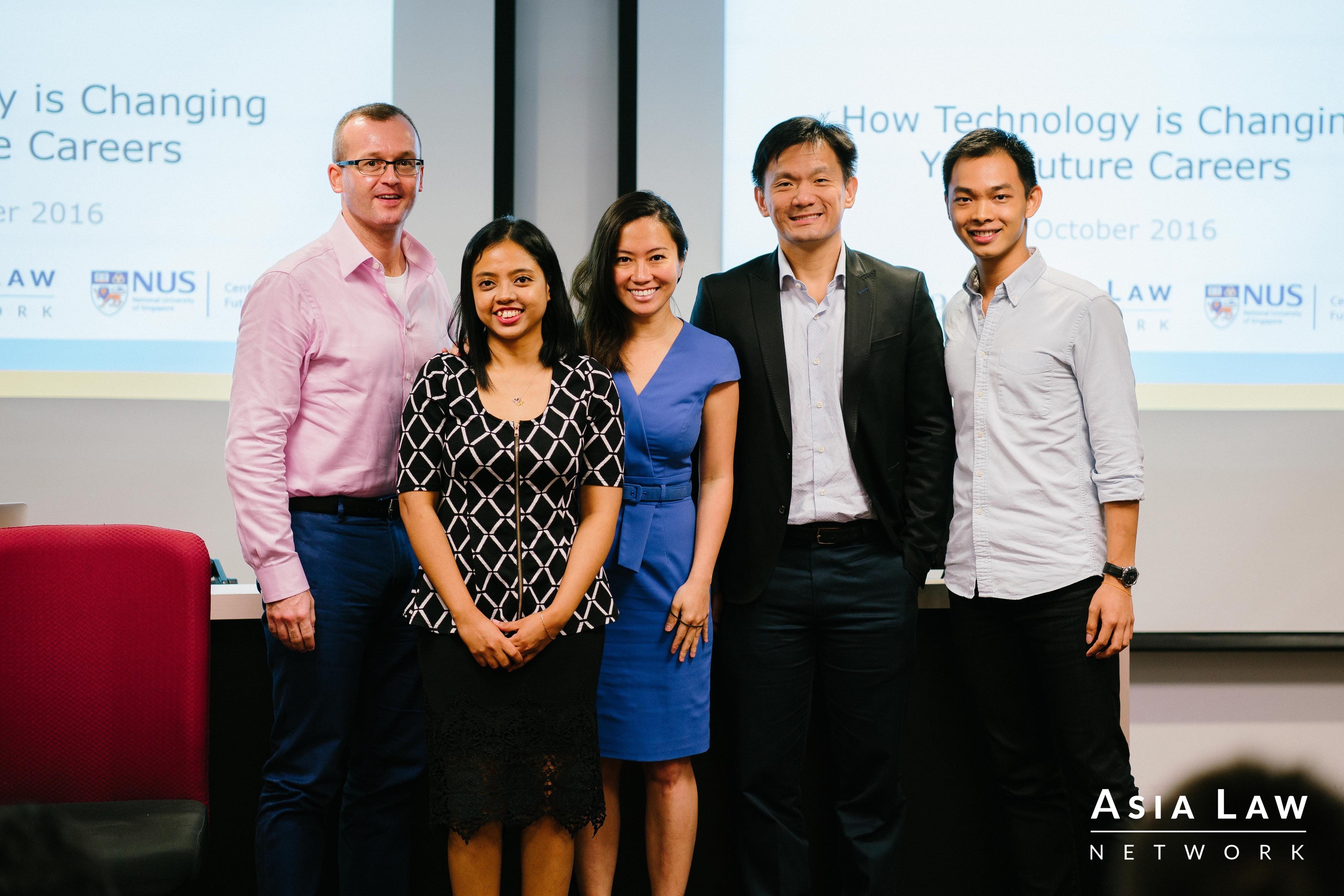 (from L to R) Patrick (panellist), Nuraziah (panellist), Cherilyn (moderator), Ee Yang (panellist), Ji En (alt+Law organiser)